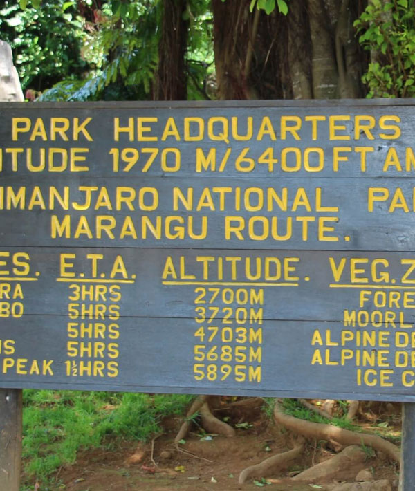 Marangu Gate (1980m) – Mandara hut (2700m)